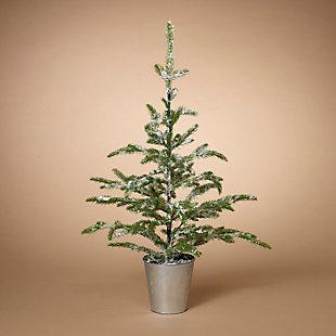 "Decorative 33"" Flocked Evergreen Tree in Bucket, , rollover"