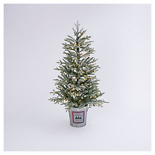 Decorative 4' Flocked Holiday Half Tree in Half Bucket, , large