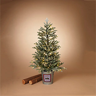 Decorative 4' Flocked Holiday Half Tree in Half Bucket, , rollover