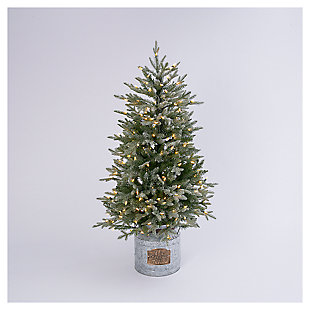 Decorative 4' Flocked Holiday Tree in Metal Milk Can Base, , large