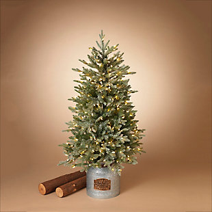Decorative 4' Flocked Holiday Tree in Metal Milk Can Base, , rollover