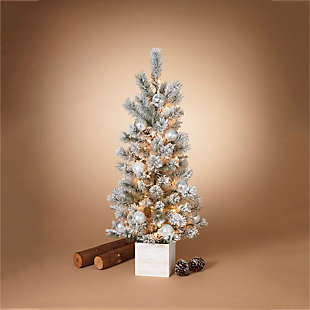 Decorative 4' Flocked Tree in Wooden Box, , rollover