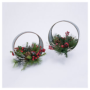 Decorative Oval Table-Top Candle Holder with Floral Accents (Set of 2), , large