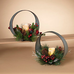 Decorative Oval Table-Top Candle Holder with Floral Accents (Set of 2), , rollover