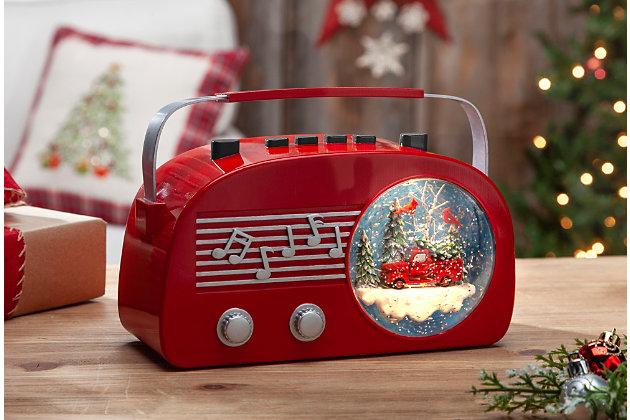 """Decorative 6.5"""" Illuminated Vintage Radio Musical Water Globe, , large"""