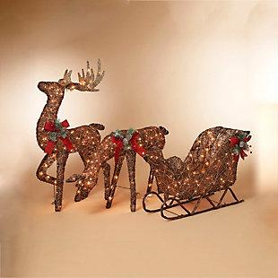 "Decorative 48"" Vine Standing Buck Winter Yard Décor, , rollover"
