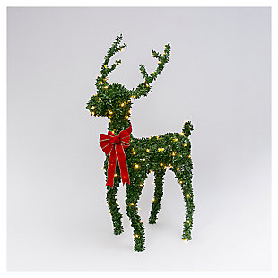 Decorative 5H Electric Green PVC Reindeer with Red Velvet Bow, , large