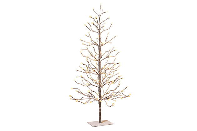 Decorative 4' Brown Wrapped Snowy Tree with LED Lighting, , large