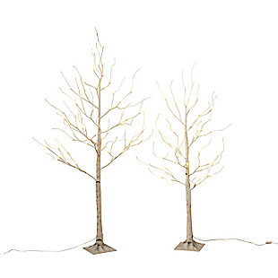 Decorative 4' Birch Tree with Mini LED Lights, , large