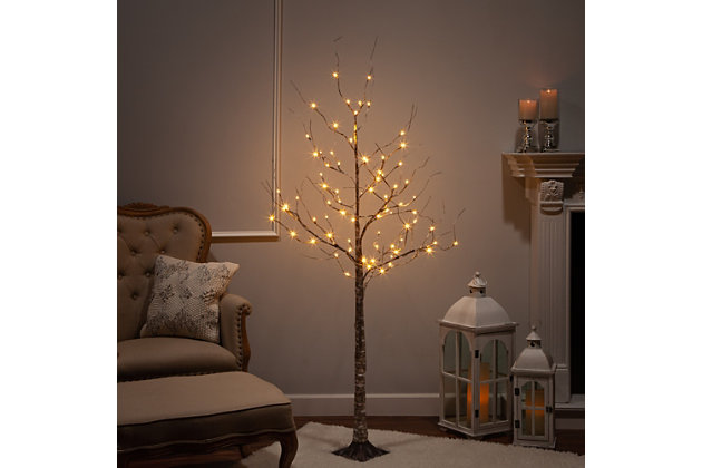 Decorative 6' Birch Bark Effect Lighted Tree with LED Lights, , large