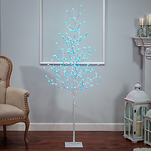 Decorative 6' Tree with Crackle Ball and LED Lights, , large