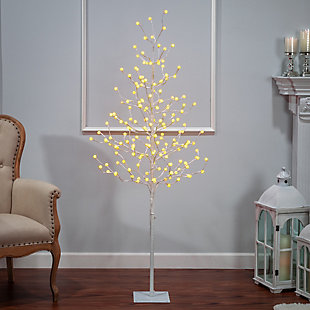 Decorative 6' Tree with Crackle Ball and LED Lights, , rollover