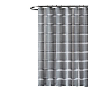 Plaid Shower Curtain, Khaki, large