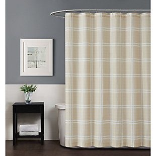 Plaid Shower Curtain, Khaki, rollover