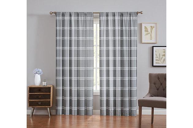 Plaid Window Panel Set of Two, Gray, large