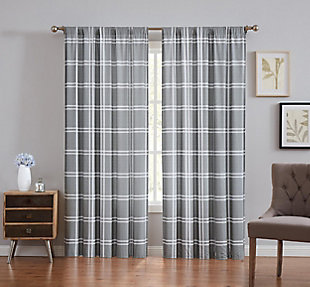 Plaid Window Panel Set of Two, Gray, large