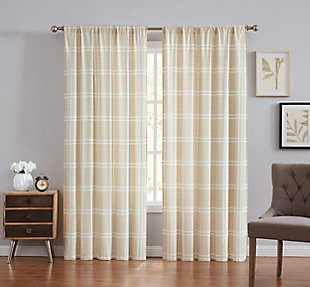 Plaid Window Panel Set of Two, Khaki, large