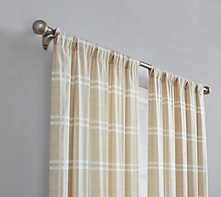 Plaid Window Panel Set of Two, Khaki, rollover
