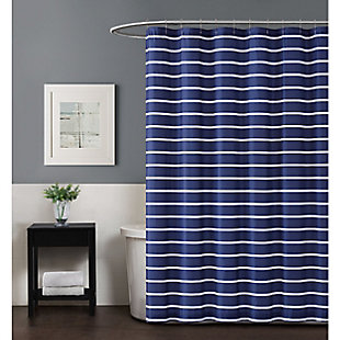 Striped Shower Curtain, Navy, rollover