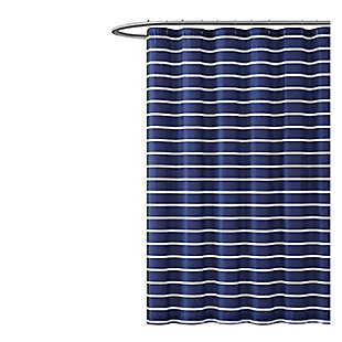 Striped Shower Curtain, Navy, large