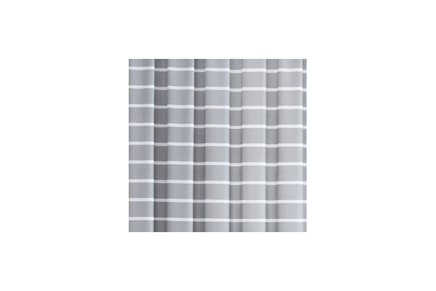 Striped Window Panel Set of Two, Gray, large