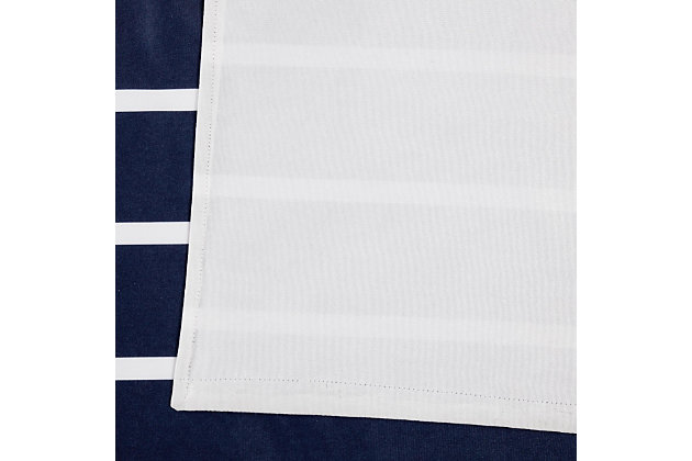 Striped Window Panel Set of Two, Navy, large