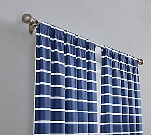 Striped Window Panel Set of Two, Navy, rollover