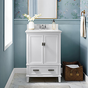 "Rectangular Rosemary 24"" Bathroom Vanity, White, rollover"