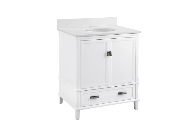 "Traditional Rosemary 30"" Bathroom Vanity, White, large"