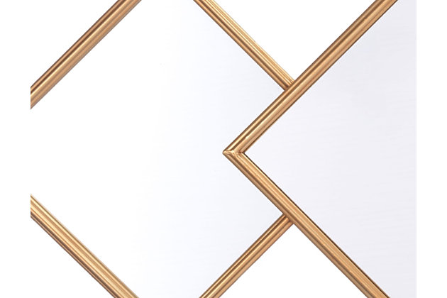 Gold Finished Three Overlapping Wall Mirror, , large