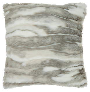 Modern Faux Angora Rabbit Fur Pillow, , large