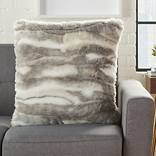 Modern Faux Angora Rabbit Fur Pillow, , rollover