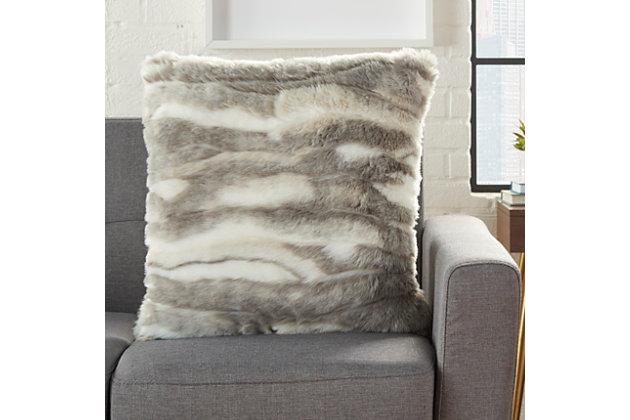 Modern Faux Angora Rabbit Fur Pillow, , large