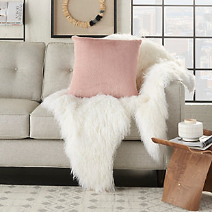 Modern Dot Foil Print Fur Pillow, Blush Pink, rollover