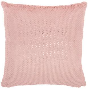 Modern Dot Foil Print Fur Pillow, Blush Pink, large