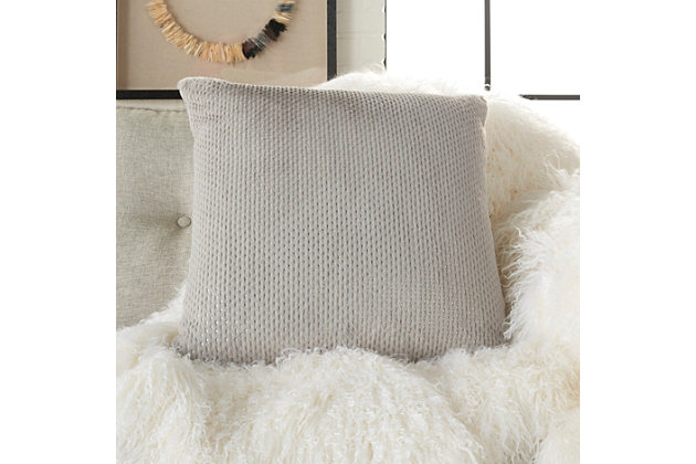 Modern Dot Foil Print Fur Pillow, Ash Gray, large