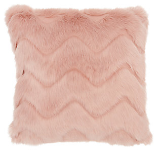 Modern Chevron Faux Fur Pillow, , large
