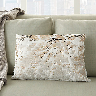 Modern Faux Fur Sequin Pillow, Ivory/Gold, large