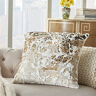 Modern Faux Fur Sequin Pillow, Ivory/Gold, rollover