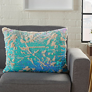 Modern Faux Fur Sequin Pillow, Teal/Ivory, large