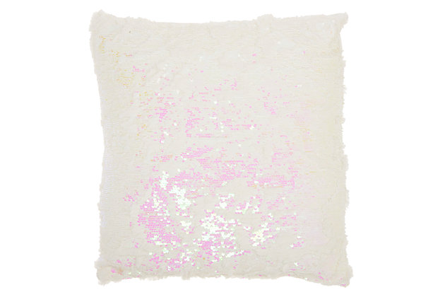 Modern Faux Fur Sequin Pillow, Soft Pink, large