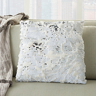 Modern Faux Fur Sequin Pillow, Ivory/Silver, large