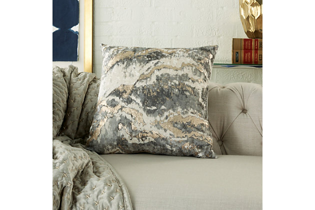 Modern Metallic Marble Pillow, Charcoal, large