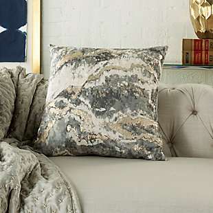 Modern Metallic Marble Pillow, Charcoal, rollover