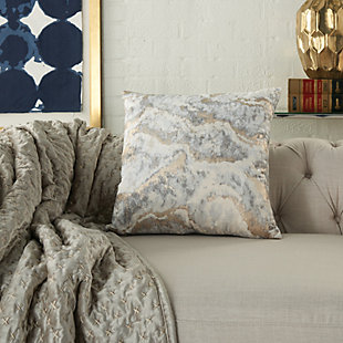 Modern Metallic Marble Pillow, Ash Gray, rollover