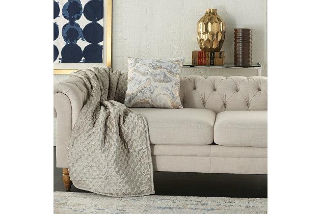 Modern Metallic Marble Pillow, Ash Gray, large
