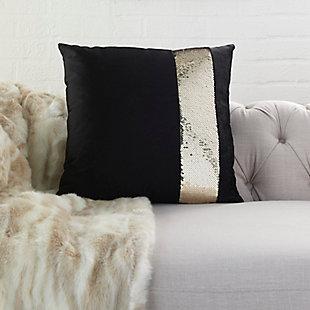 Modern Sequin Stripe Pillow, Gold/Black, rollover