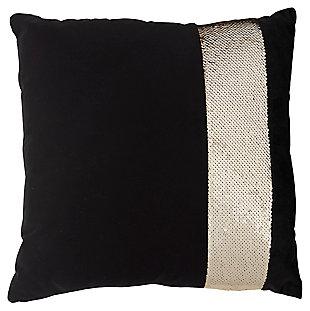 Modern Sequin Stripe Pillow, Gold/Black, large