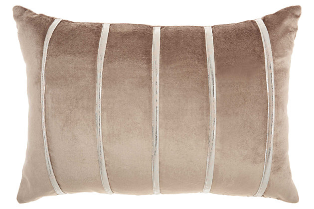 Modern Pleated Stripes Pillow, Ivory/Beige, large