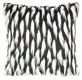 Modern Faux Fur Feather Pillow, , large